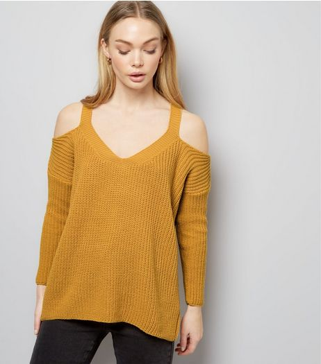 Petite Yellow Ribbed V Neck Cold Shoulder Jumper | New Look