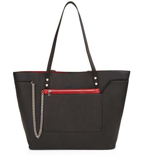 Black Zip Chain Purse Tote Bag | New Look
