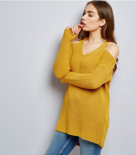 Tall Yellow Ribbed V Neck Cold Shoulder Jumper | New Look