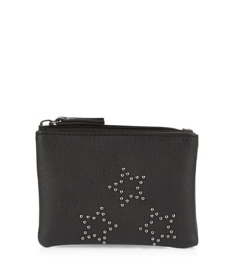 Black Star Studded Zip Top Purse | New Look