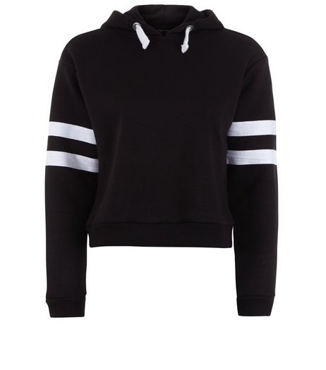 Teens Black Stripe Sleeve Hoodie | New Look