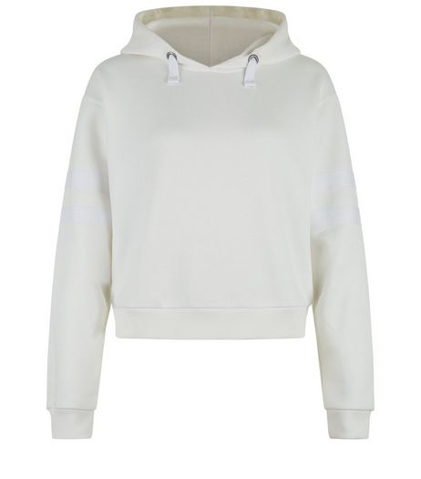 Teens Cream Stripe Sleeve Hoodie | New Look