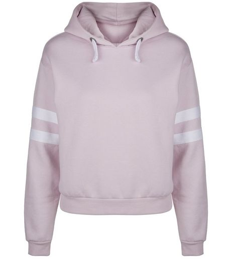 Teens Lilac Stripe Sleeve Hoodie | New Look