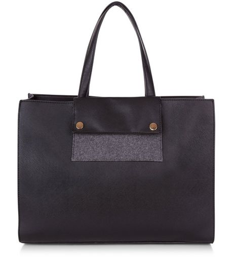 Black Felt Panel Tote Bag | New Look