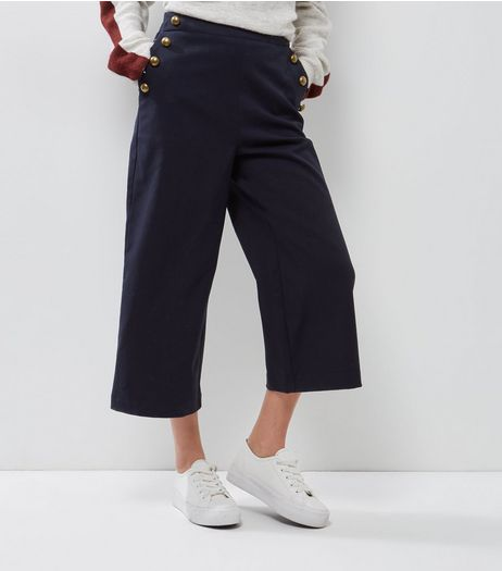 Petite Navy Button Side Wide Leg Cropped Trousers | New Look