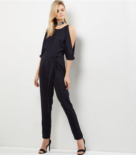 Tall Black Cold Shoulder Jumpsuit | New Look