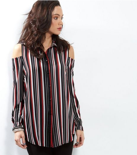 Tall Red Stripe Cold Shoulder Crepe Shirt | New Look