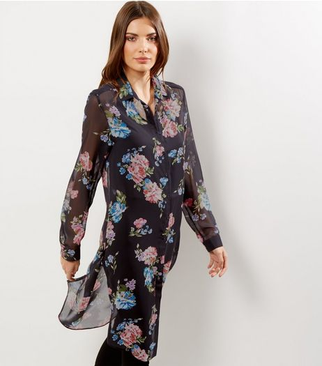 Tall Blue Floral Print Chiffon Longline Shirt | New Look