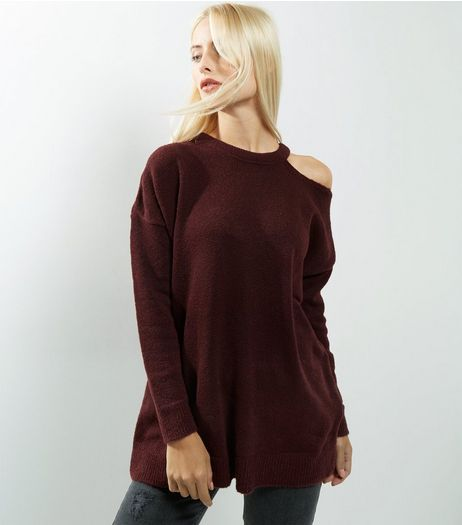 Burgundy Cut Out Panel Long Sleeve Jumper  | New Look