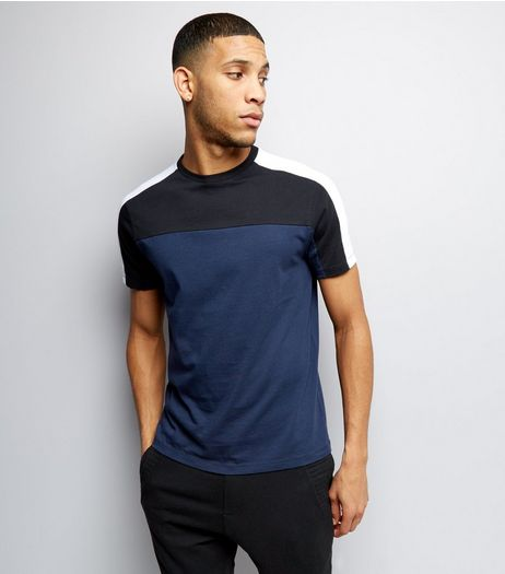 Navy Colour Block Short Sleeve T-Shirt | New Look