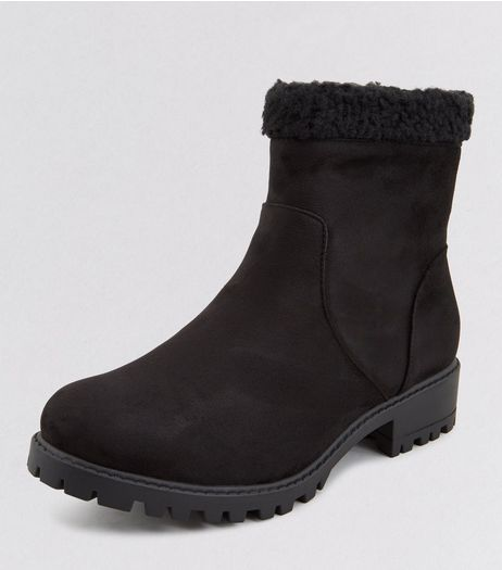 Teens Suedette Faux Shearling Trim High Ankle Boots | New Look