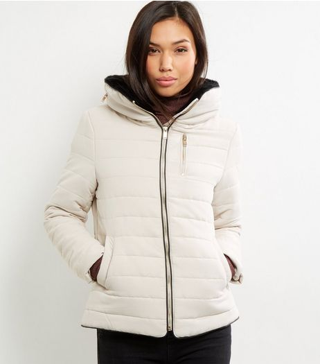Cream Fitted Padded Puffer Jacket | New Look