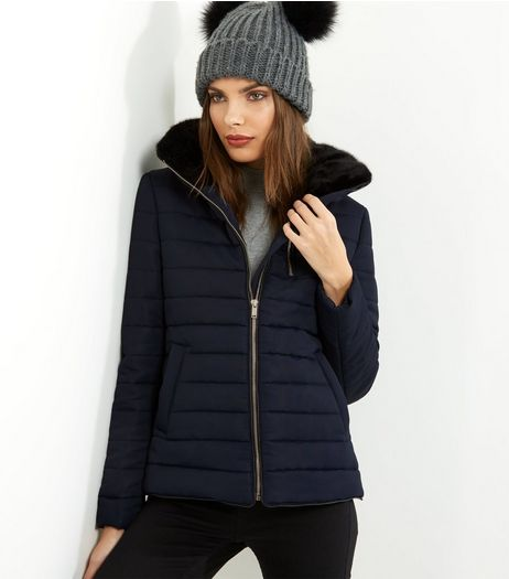 Navy Fitted Padded Puffer Jacket | New Look