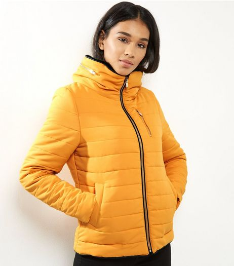 Yellow Fitted Padded Puffer Jacket  | New Look