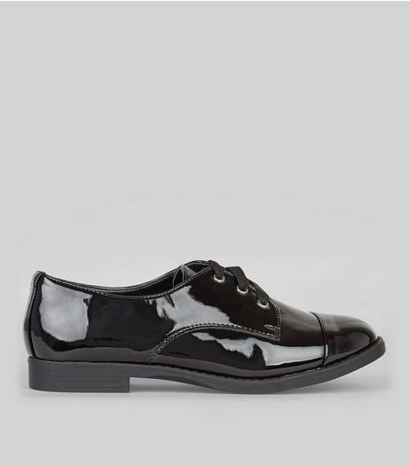 Black Wide Fit Patent Lace-Up Brogues | New Look