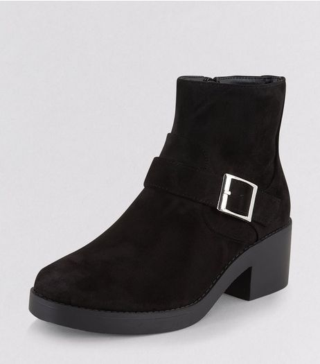 Teens Black Suedette Buckle Ankle Boots | New Look