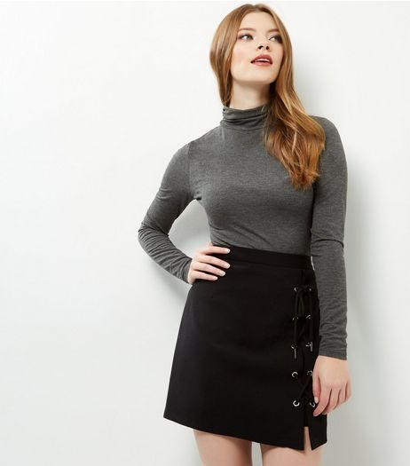 Black Lace Up Side Mini Skirt | New Look