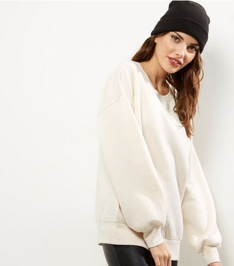 Cream Balloon Sleeve Sweater | New Look