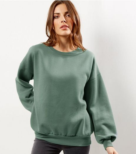 Light Green Balloon Sleeve Sweater  | New Look