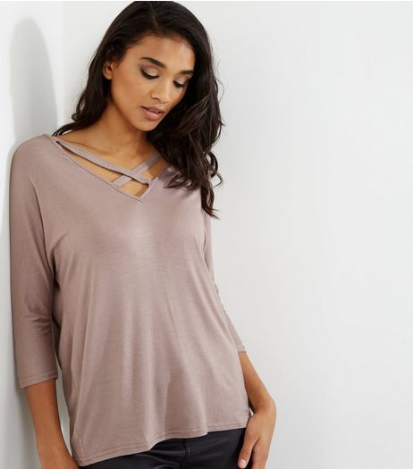 Mink Cross Front 3/4 Sleeve Top | New Look