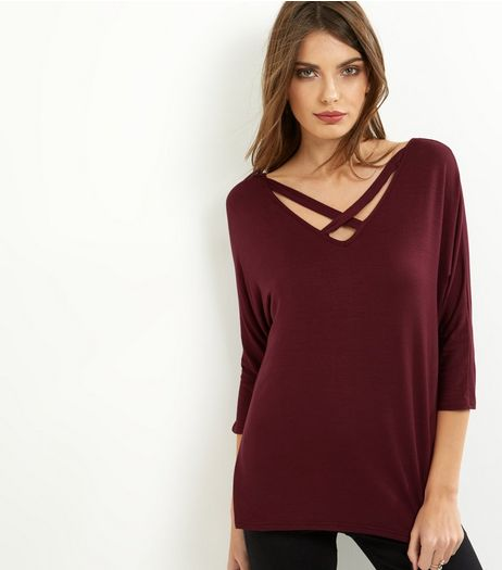 Burgundy Cross Strap Front Long Sleeve T-Shirt  | New Look