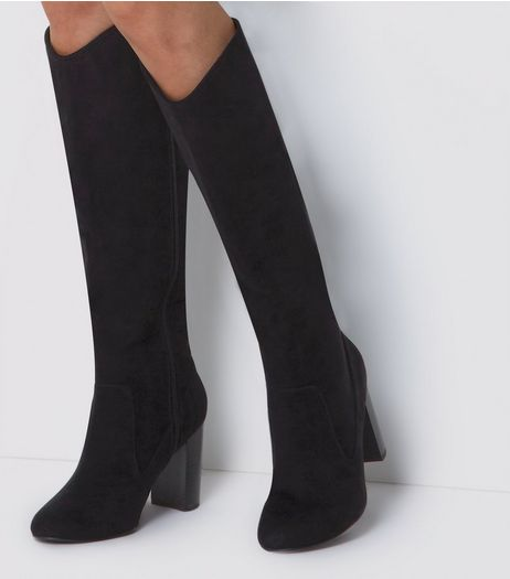 Wide Fit Black Suedette Knee High Boots  | New Look