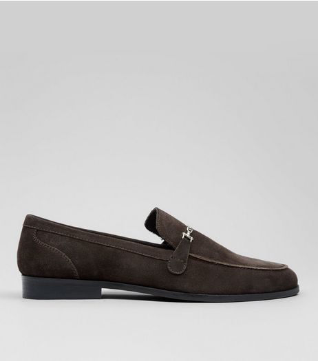 Dark Brown Metal Snaffle Loafers | New Look