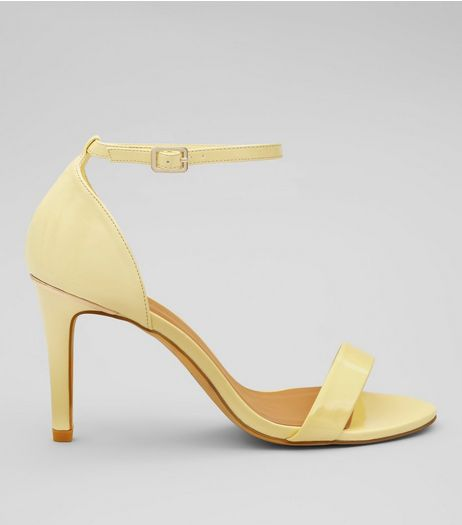Wide Fit Yellow Patent Metal Trim Heeled Sandals | New Look