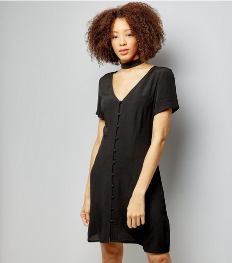 Black Button Front Short Sleeve Skater Dress | New Look