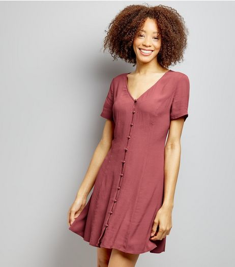 Burgundy Button Front Short Sleeve Skater Dress  | New Look