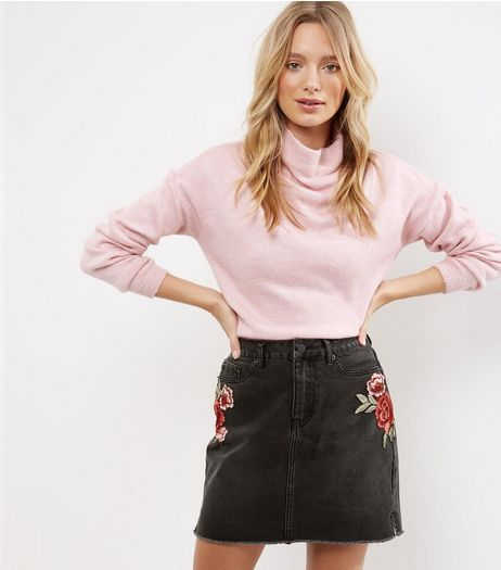 Black Rose Badge Denim Mom Skirt  | New Look