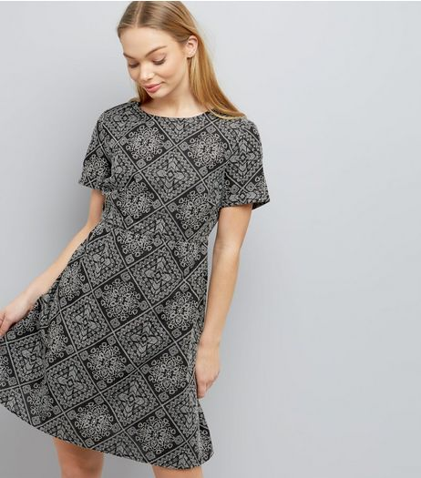 Black Tile Embroidered Smock Dress | New Look