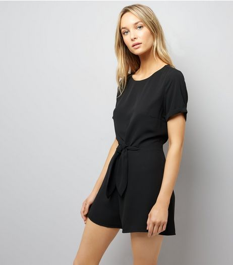 Black Tie Front Short Sleeve Playsuit | New Look