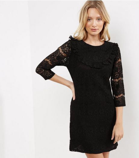 Black Lace Frill Trim Ribbed 3/4 Sleeve Tunic Dress | New Look