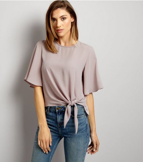 Lilac Tie Front Top | New Look