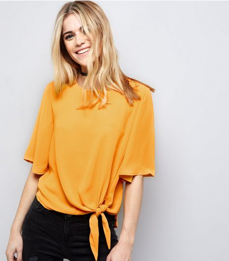 Yellow Tie Front Top | New Look