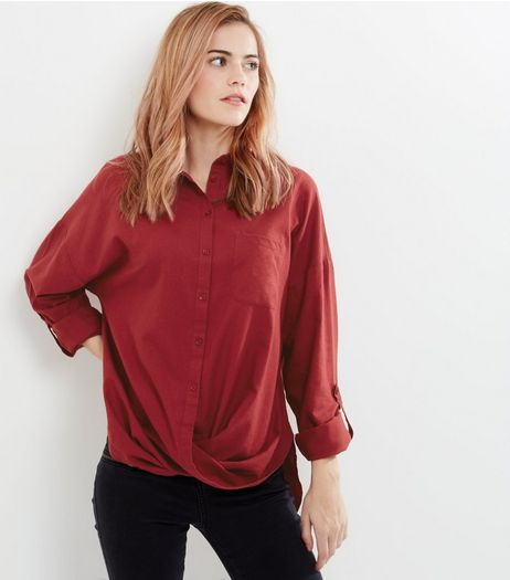 Red Wrap Front Cotton Shirt | New Look