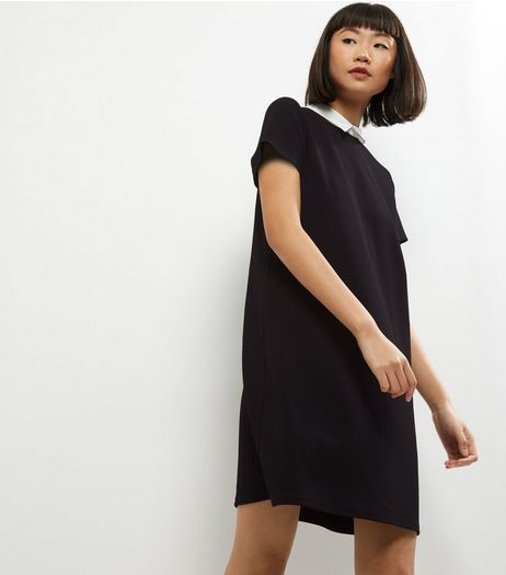 Black Contrast Collar Short Sleeve Tunic Dress | New Look
