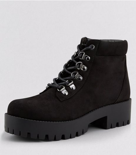 Teens Black Suedette Eyelet Chunky Cleated Sole Ankle Boots | New Look