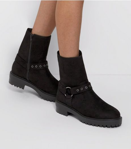 Wide Fit Black Suedette Buckle Side Biker Boots  | New Look