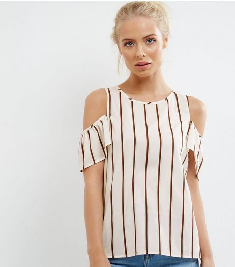 White Contrast Stripe Cold Shoulder Top | New Look