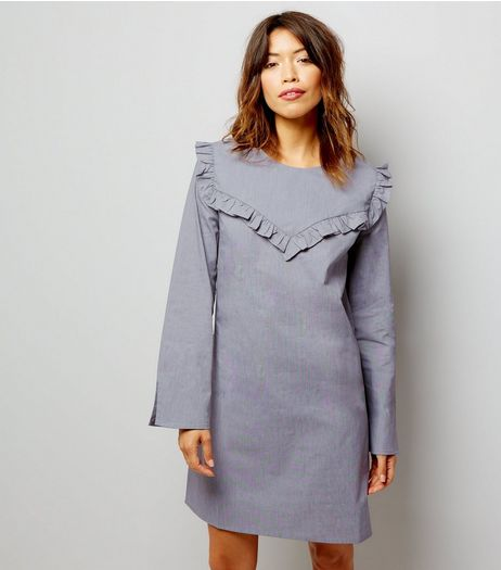 Dark Grey Frill Trim Long Sleeve Cotton Tunic Dress | New Look