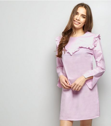 Pink Frill Trim Long Sleeve Cotton Tunic Dress | New Look