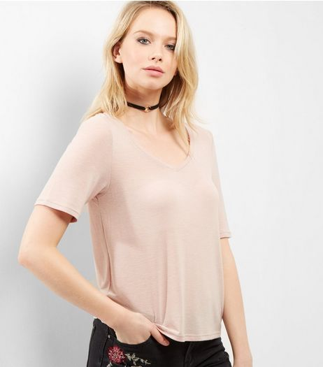 Pink V Neck T-Shirt | New Look