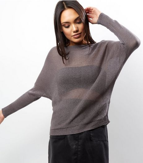 Apricot Dark Grey Fine Knit Batwing Jumper | New Look