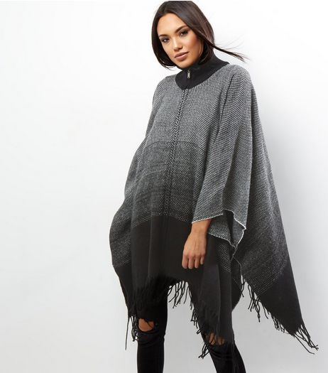 Apricot Dark Grey Ombre Tassle Trim Cape | New Look