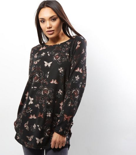 Apricot Black Butterfly Print Longline Jumper  | New Look