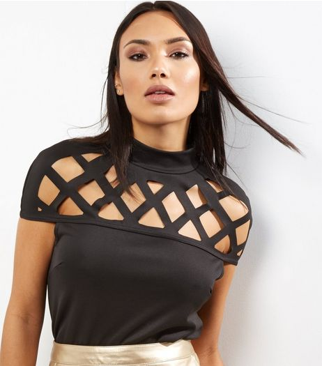 Cameo Rose Black Lattice Panel Funnel Neck Top | New Look
