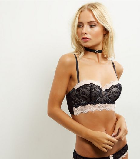 Black Layered Lace Longline Bra | New Look