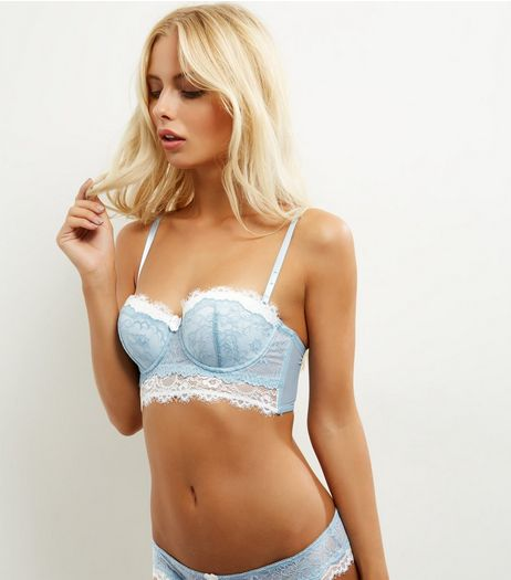 Mint Green Layered Lace Longline Bra | New Look